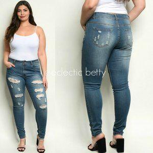 """Distress Call"" Distressed Stretch Skinny Jeans"